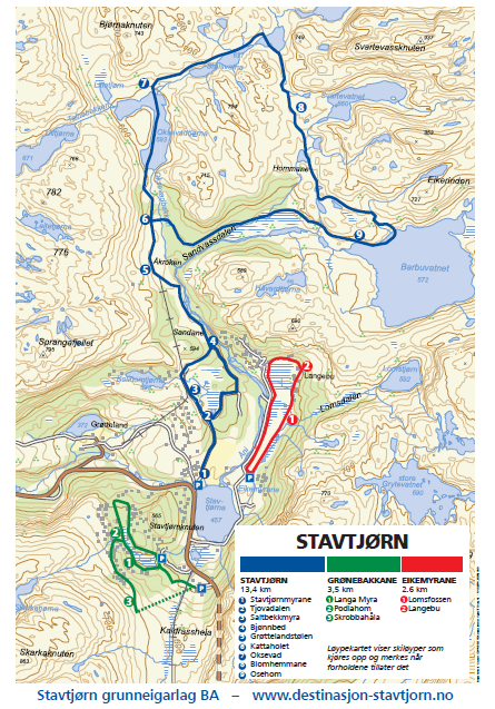 Løypekart for Stavtjørn skispor